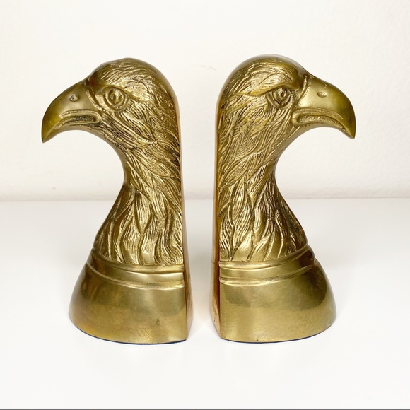 Vintage Eagle Bookends Brass Mid Century Modern